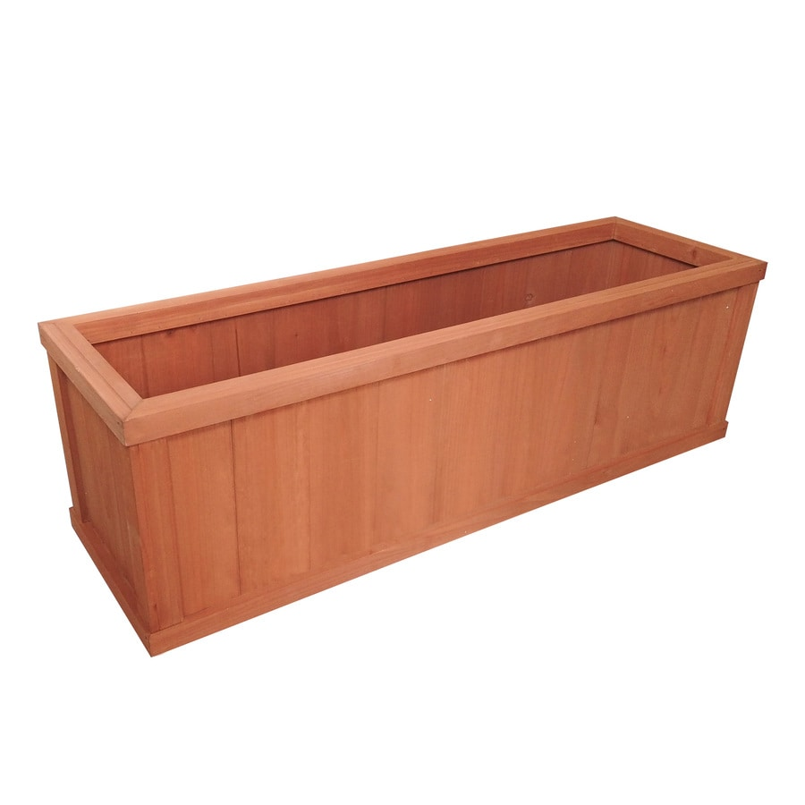 Style Selections 40 In W X 12 In H Cedar Wood Planter In The Pots Planters Department At Lowes Com