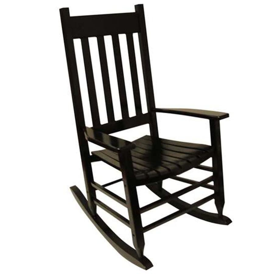 Shop garden treasures black patio rocking chair at for Rocking chair