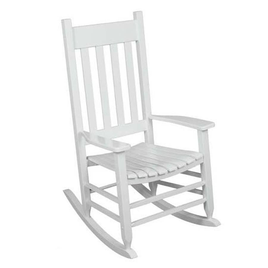 Style Selections White Wood Frame Rocking Chair S With Slat Seat In The Patio Chairs Department At Lowes Com