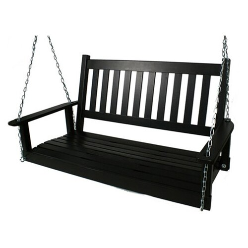 Style Selections 2 Person Black Wood Outdoor Swing At