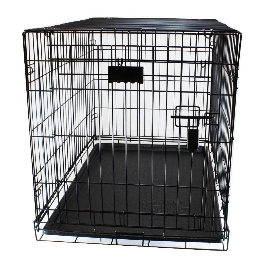 Blue Hawk 3-ft x 1.83-ft x 2.08-ft Black Collapsible Plastic and Wire Pet Crate