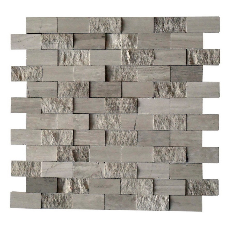 CCI Driftwood Grey Mosaic Wood Look Natural Stone Marble Wall Tile (Common: 12-in x 12-in; Actual: 11.77-in x 11.77-in)