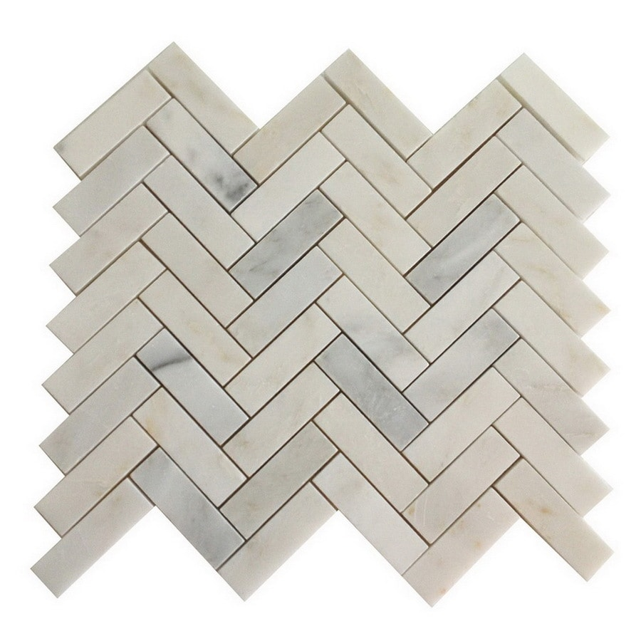 allen + roth Genuine Stone White Marble Mosaic Natural Stone Marble Floor Tile (Common: 13-in x 13-in; Actual: 12.4-in x 10.8-in)