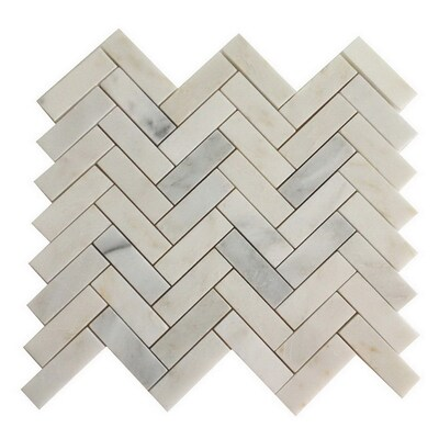 Genuine Stone White Marble Mosaic Dimensional Floor Tile Actual 10 8 In X 12 4