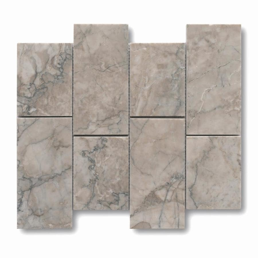 allen + roth Genuine Stone Gray Marble Mosaic Natural Stone Marble Wall Tile (Common: 12-in x 10-in; Actual: 11.69-in x 9.69-in)
