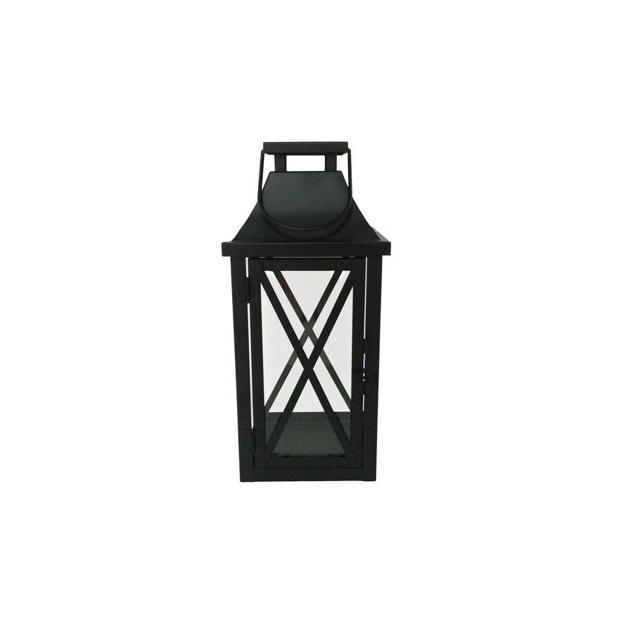 Garden Treasures 4.5-in x 10-in Black Metal Tea Light Outdoor Decorative Lantern