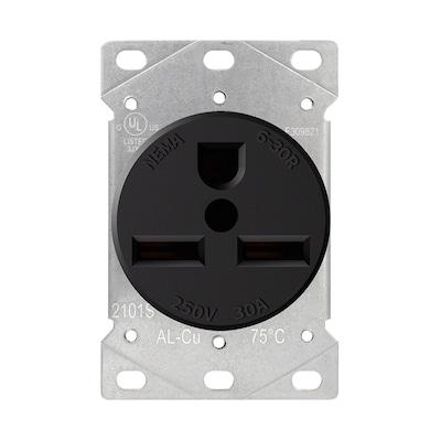 220 Volt Outlet >> Black 30 Amp Round Industrial Outlet