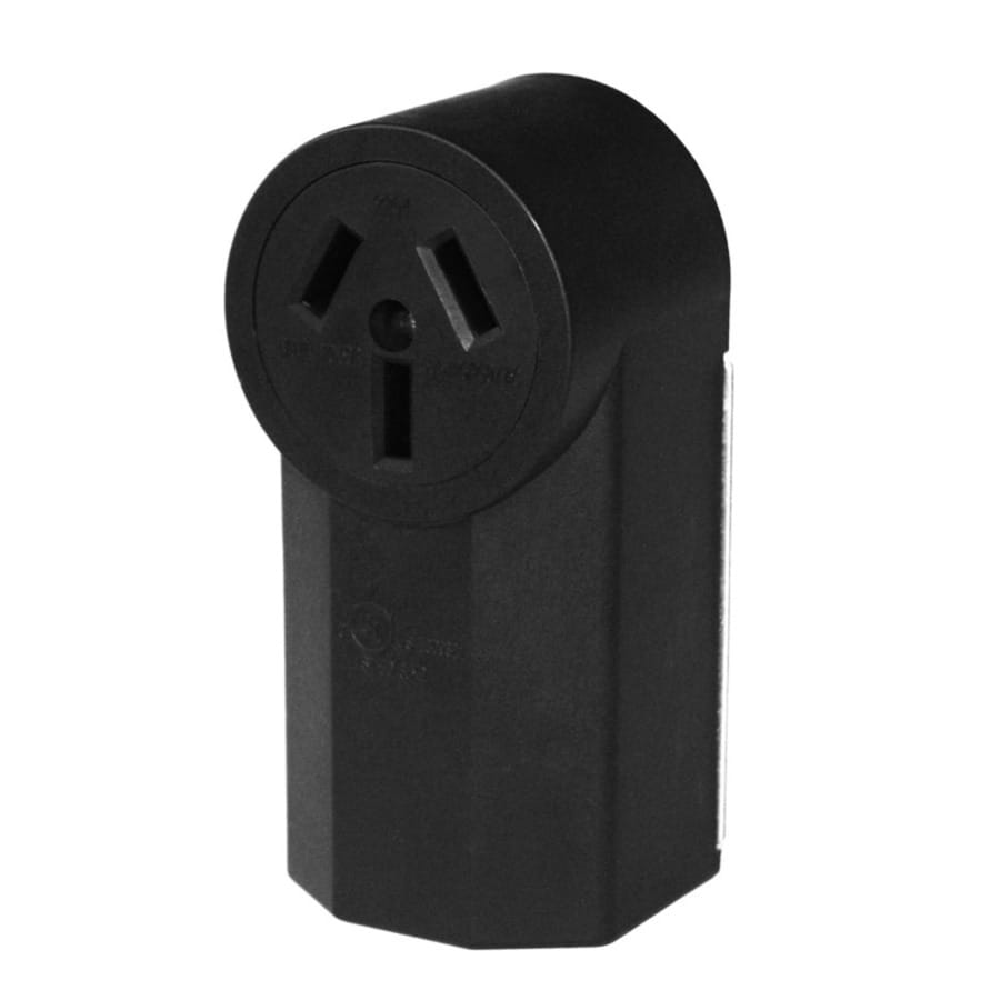 Utilitech 50-Amp 125/250-Volt Black Indoor Round Wall Range Power Outlet