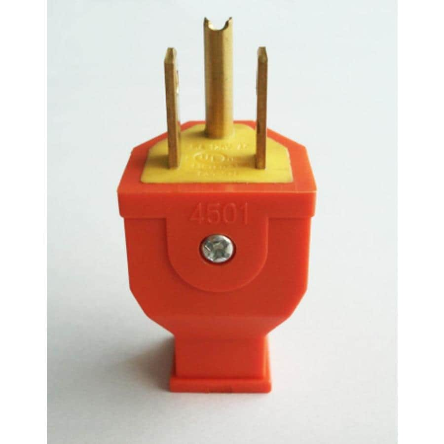 Shop Electrical Plugs Connectors At Power Products Accessories 3 Pin Plug Wiring Te Project Source 15 Amp 125 Volt Orange Wire Grounding