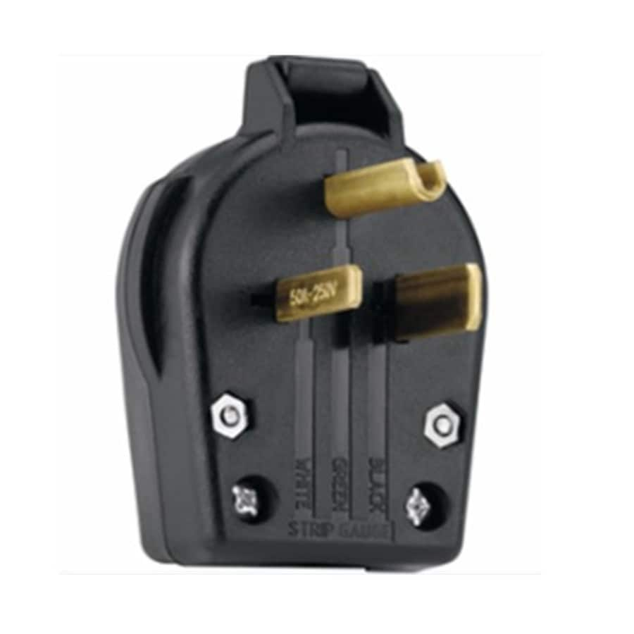 shop electrical plugs connectors at com utilitech 50 amp 250 volt black 3 wire plug