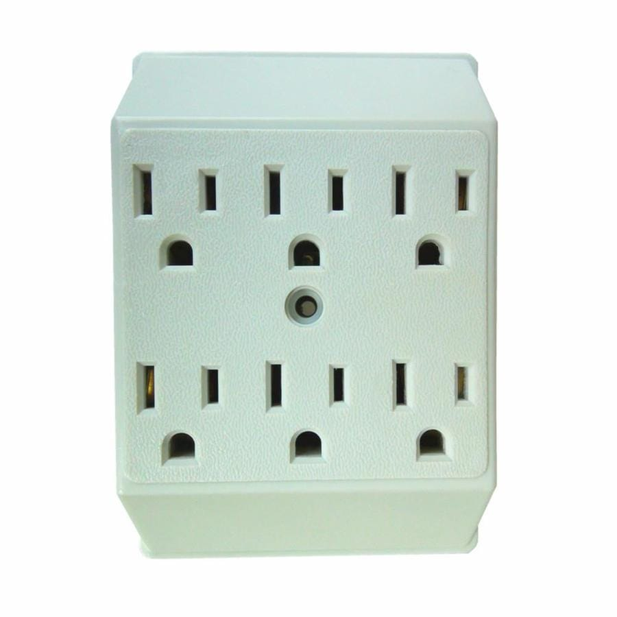 Shop Electrical Outlet Adapters Splitters At Wiring A 4 Plug Display Product Reviews For 15 Amp 3 Wire Grounding Duplex To Six White Basic