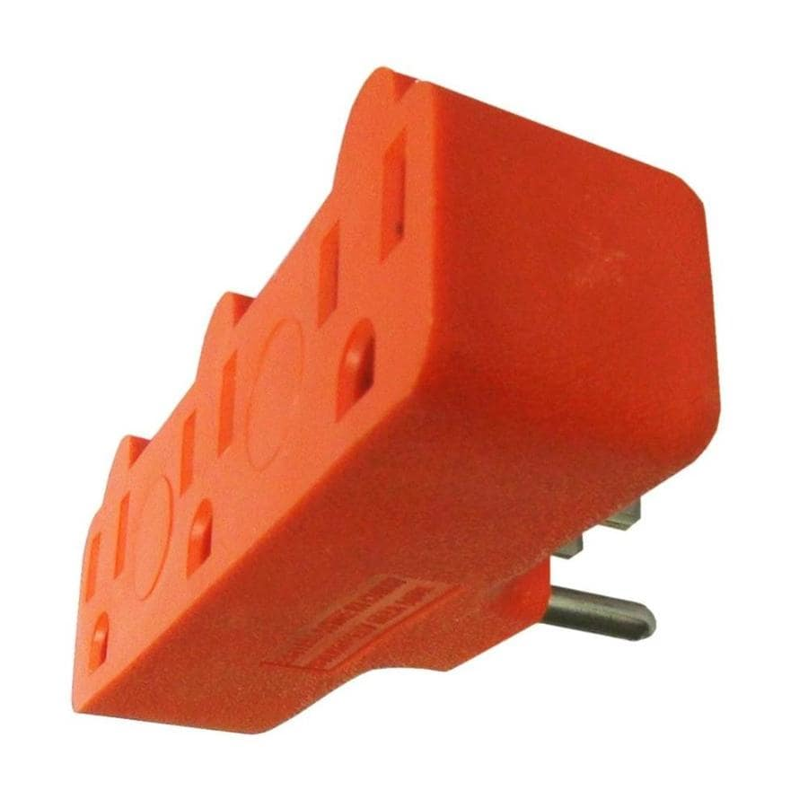 Project Source 15-Amp 3-Wire Grounding Single to Triple Orange Basic Adapter