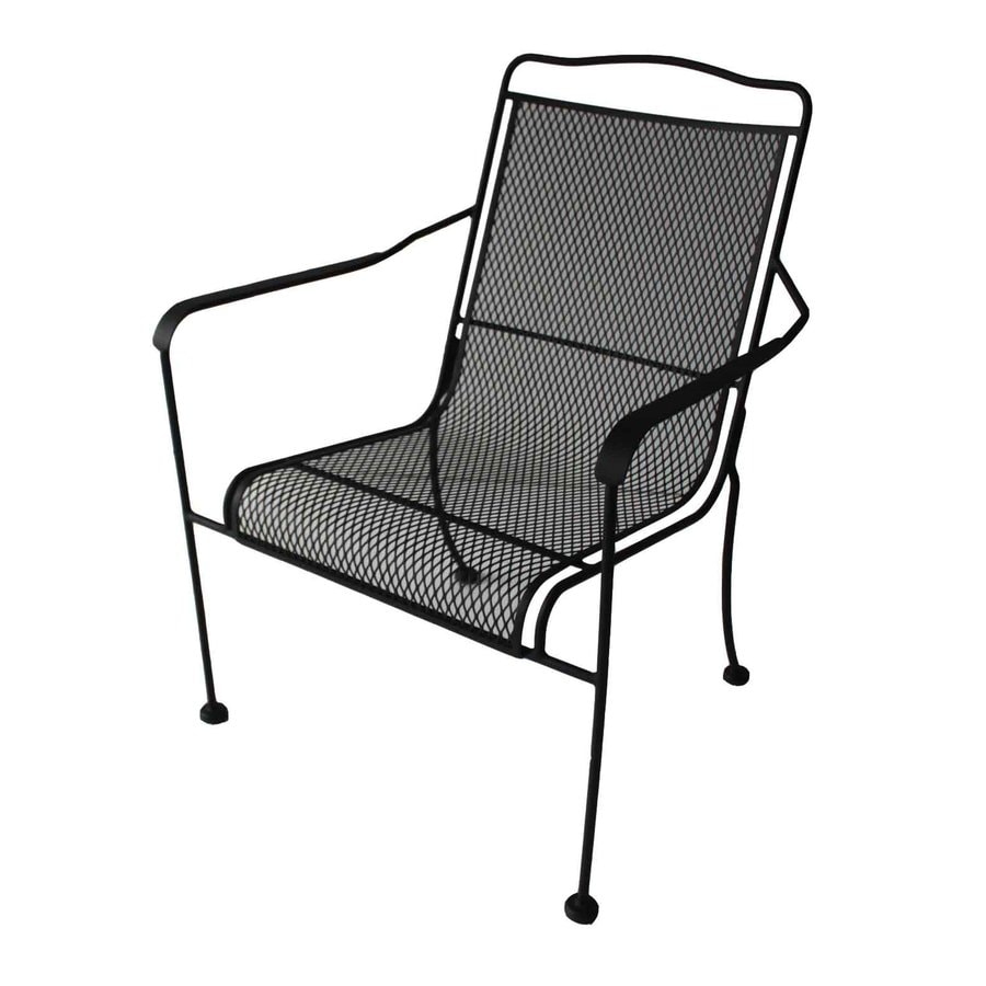 Garden Treasures Davenport Matte Black Steel Stackable Patio Dining Chair
