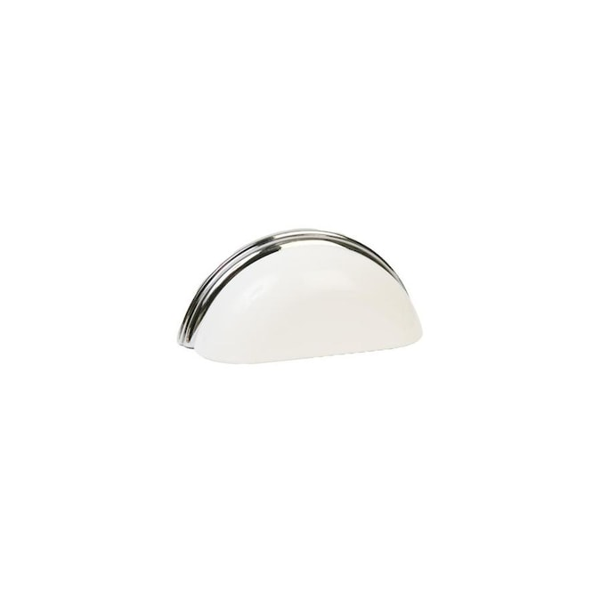 Lew S Hardware Metal Bin Pulls 3 In Center To Center Gloss White Polished Chrome Oval Cup Drawer Pulls In The Drawer Pulls Department At Lowes Com