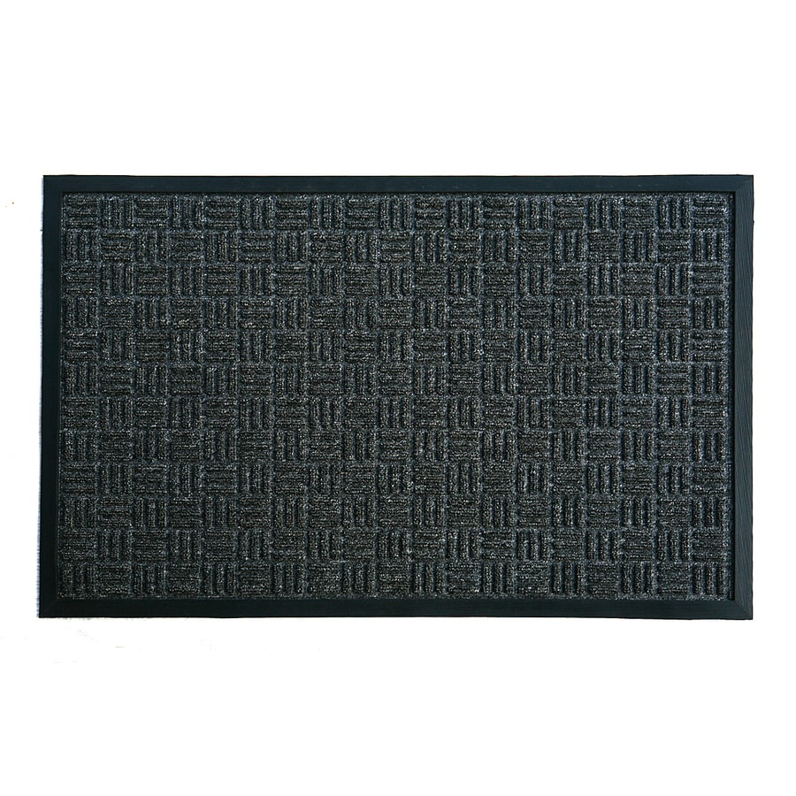 Blue Hawk Black Rectangular Door Mat (Common: 2 Ft X 3 Ft