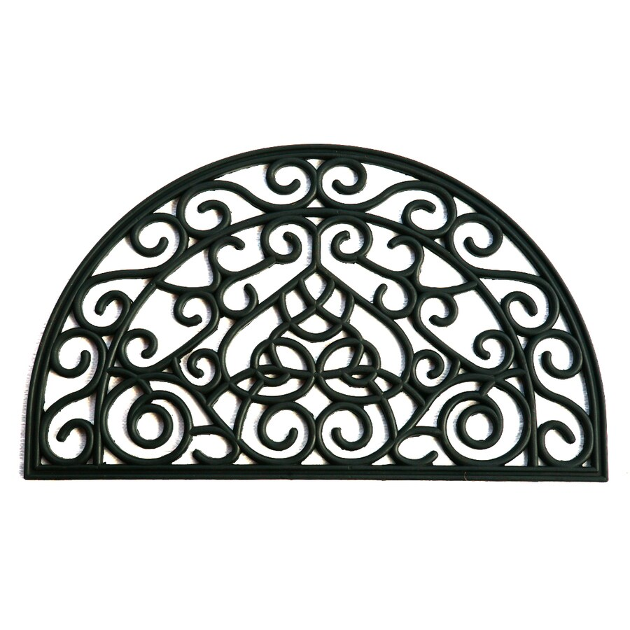 allen + roth Black Semicircle Door Mat (Common: 1-1/2-ft X 2-1/2-ft; Actual: 17.9-in x 29.9-in)