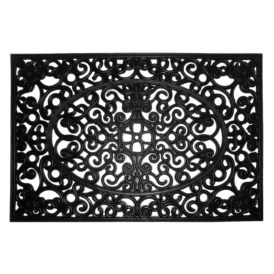 Attirant Allen + Roth Black Rectangular Door Mat (Common: 2 Ft X 3