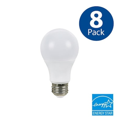 8 Pack 60 W Equivalent Dimmable Soft White A19 Led Light Fixture Bulbs