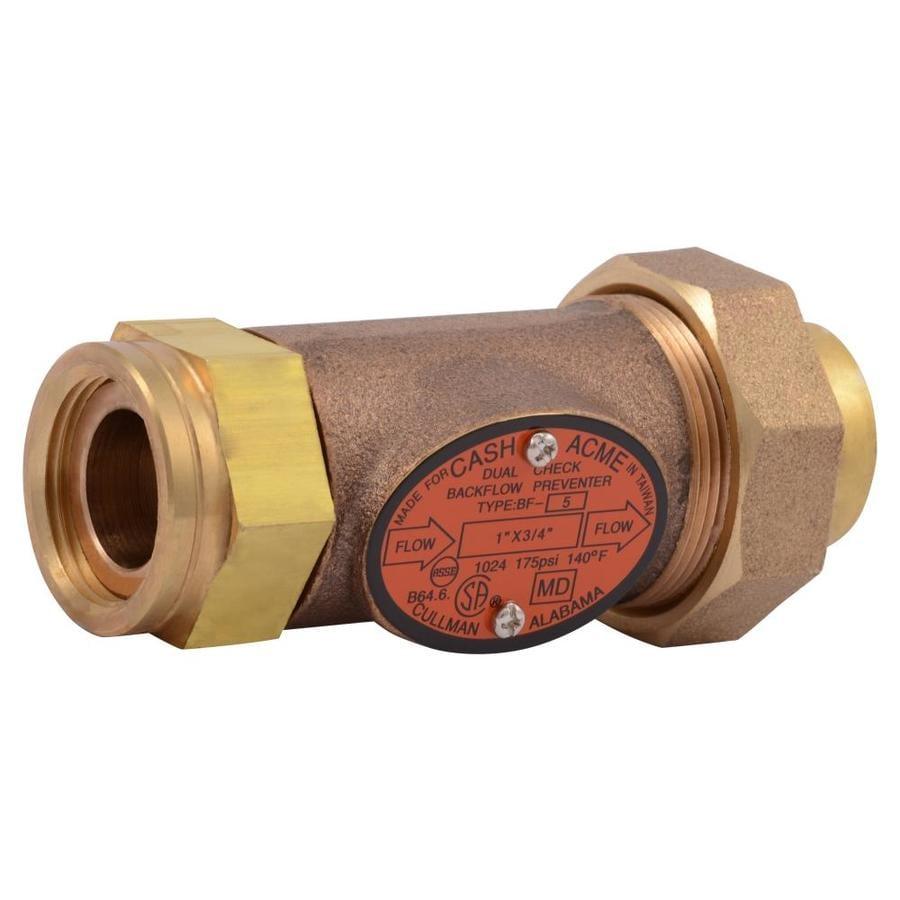 Cash Acme Brass 1-in FNPT Double-check Backflow Preventer