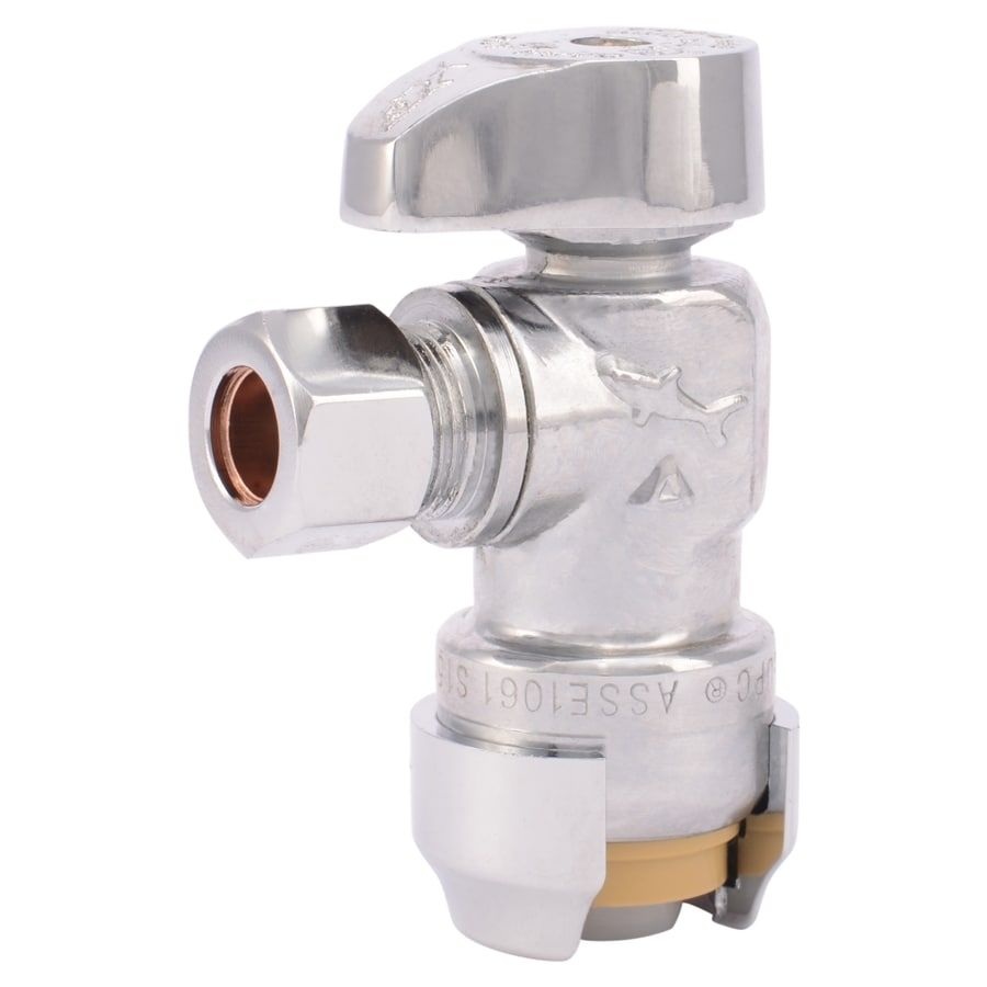 SharkBite Brass 1/2-in Push To Connect Quarter Turn Angle Valve