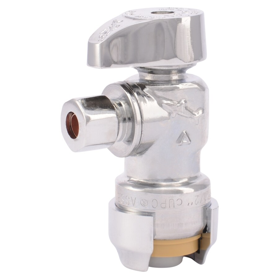 SharkBite Brass 1/2-in Push-to-Connect x 1/4-in OD Compression Quarter Turn Angle Valve