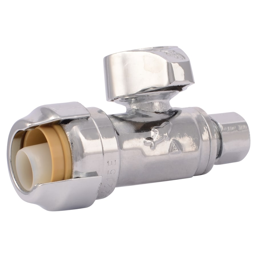 SharkBite Brass 1/2-in Push-to-Connect x 1/4-in OD Compression Quarter Turn Straight Valve