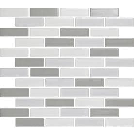 EPOCH Architectural Surfaces Multicolor 11-in x 13-in Ceramic Brick Mosaic Subway Dimensional Interlocking Tile (Common: 11-in x 13-in; Actual: 11.46-in x 11.61-in)