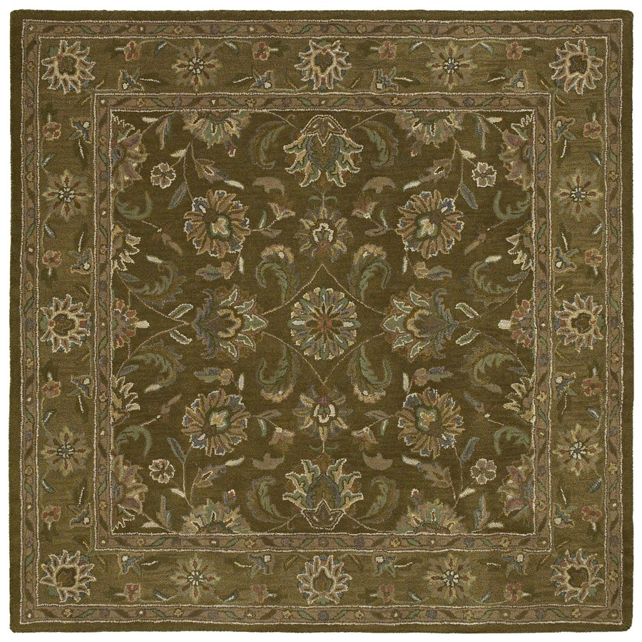 Kaleen Tara2-ft Square Green Floral Tufted Wool Area Rug (Common: 4-ft x 4-ft; Actual: 3.75-ft x 3.75-ft)