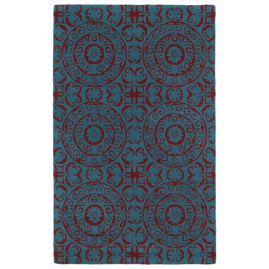 Kaleen Evolution Peacock Square Indoor Handcrafted Area Rug (Common: 4 x 4; Actual: 3.75-ft W x 3.75-ft L)