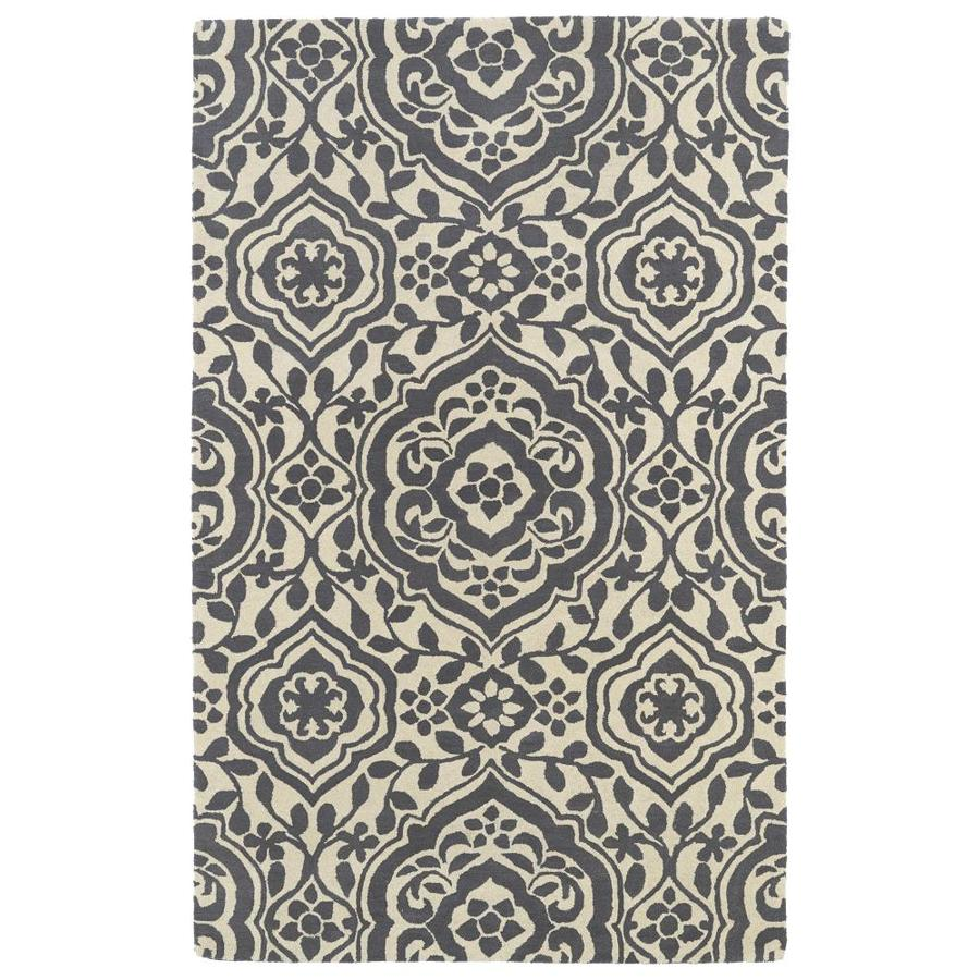 Kaleen Evolution Grey Square Indoor Handcrafted Area Rug (Common: 4 x 4; Actual: 3.75-ft W x 3.75-ft)