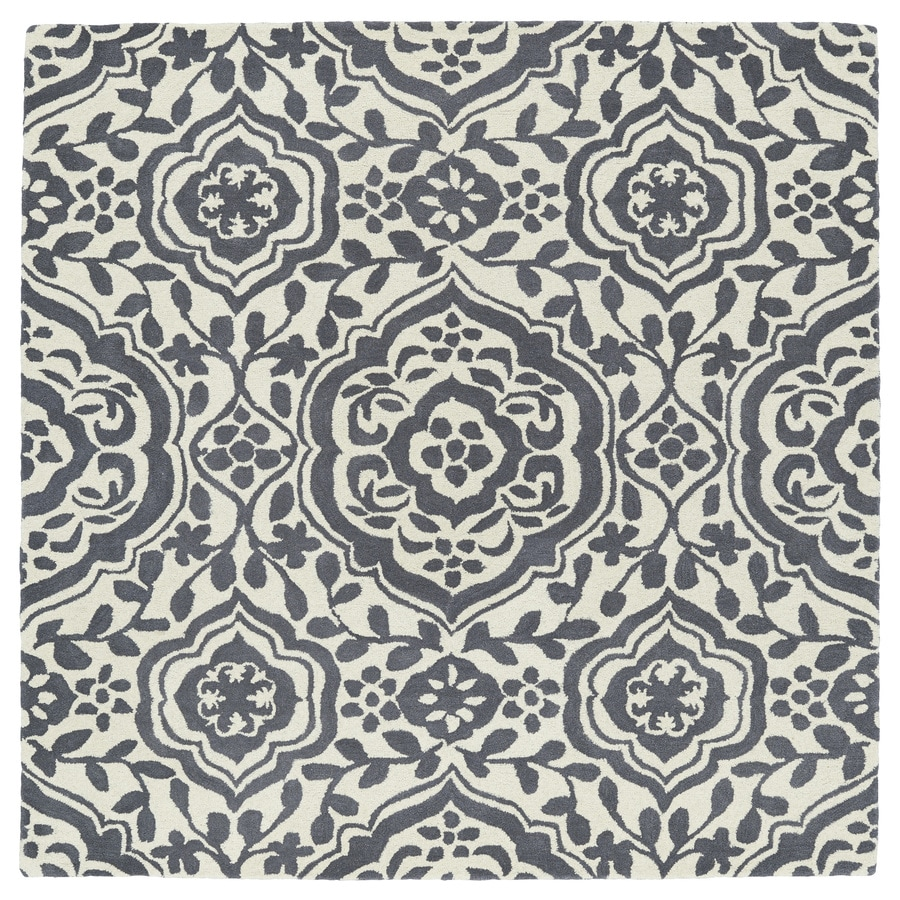 Kaleen Evolution Grey Square Indoor Handcrafted Area Rug (Common: 10 x 10; Actual: 9.75-ft W x 9.75-ft)