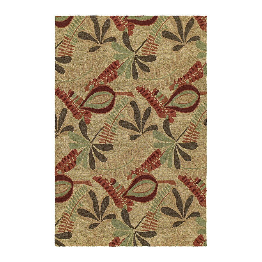 Kaleen Home and Porch Rectangular Cream Floral Indoor/Outdoor Tufted Area Rug (Common: 8-ft x 8-ft; Actual: 7.5-ft x 5-ft)