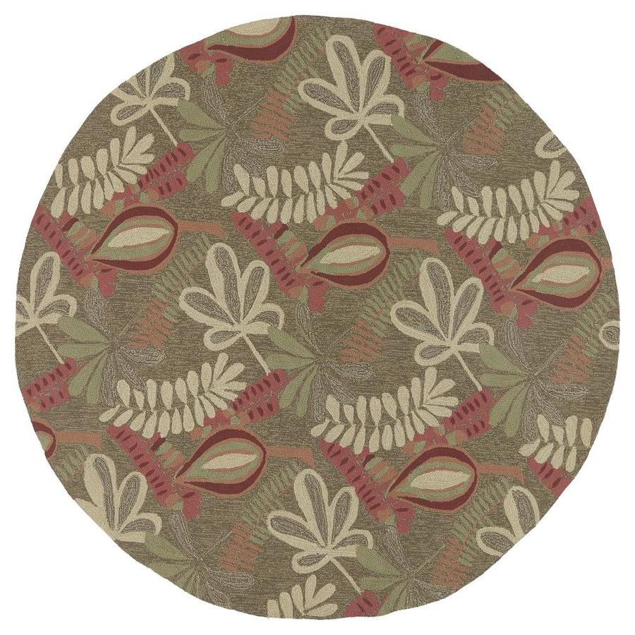Kaleen Home and Porch Brown/Tan Round Indoor/Outdoor Handcrafted Nature Area Rug (Common: 8 x 8; Actual: 7.75-ft W x 7.75-ft L)