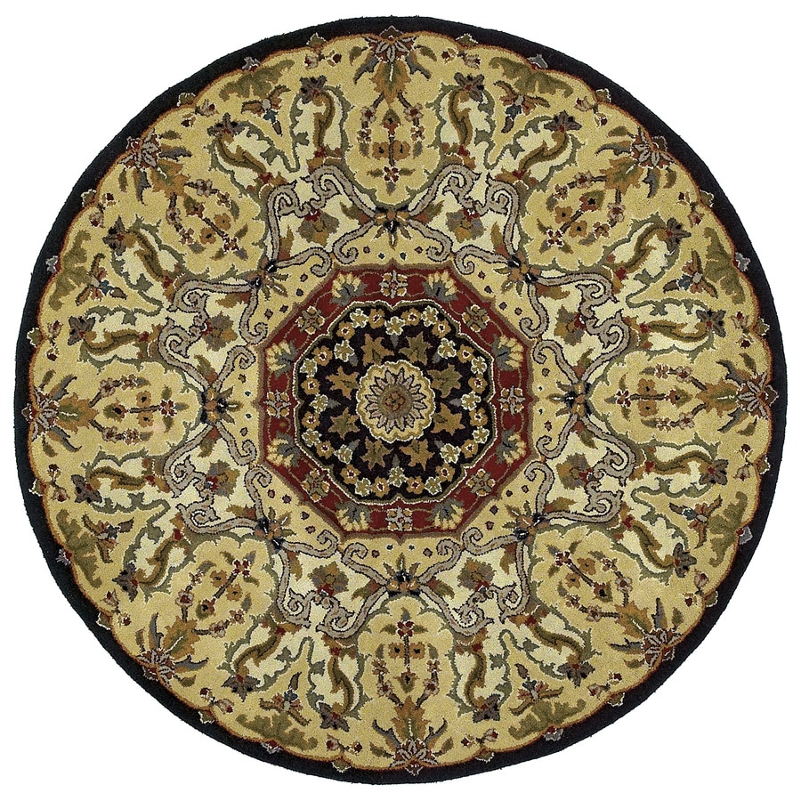 Kaleen Tara Black Round Indoor Handcrafted Nature Area Rug (Common: 6 x 6; Actual: 5.75-ft W x 5.75-ft L)