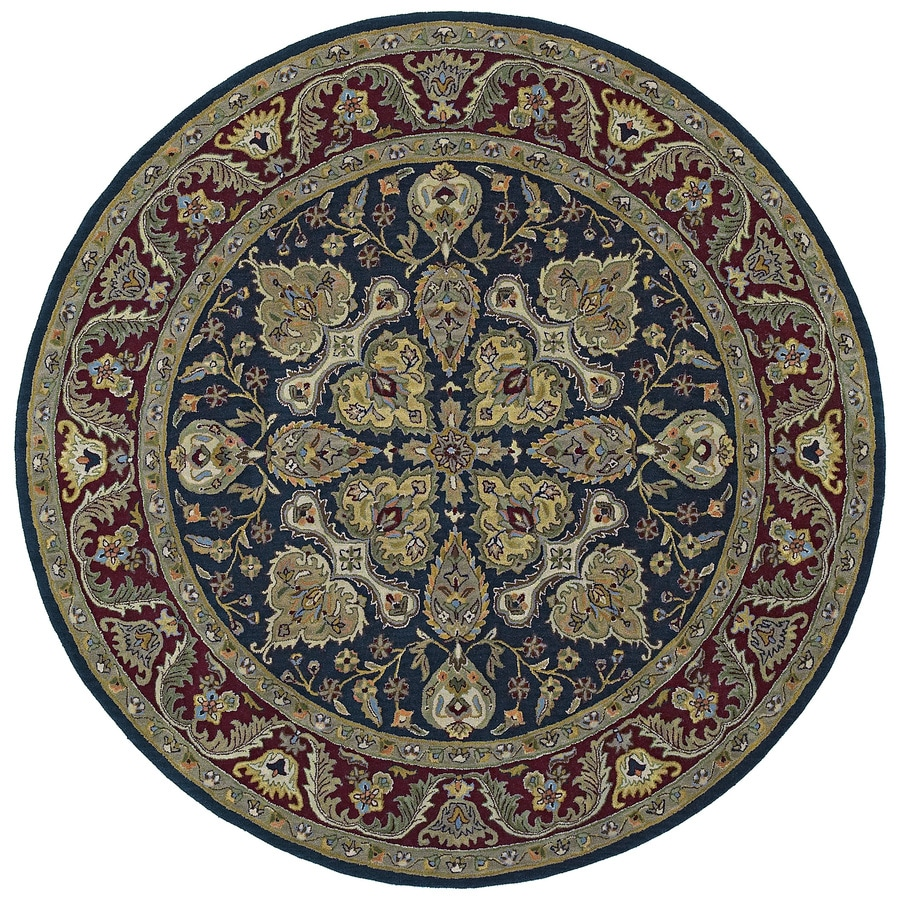 Kaleen Tara Round Blue Floral Tufted Wool Area Rug (Common: 4-ft x 4-ft; Actual: 3.75-ft x 3.75-ft)
