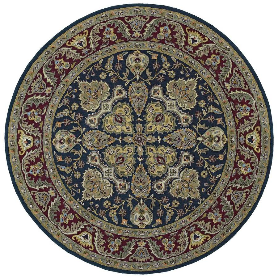 Kaleen Tara Blue Round Indoor Handcrafted Nature Area Rug (Common: 8 x 8; Actual: 7.75-ft W x 7.75-ft L)