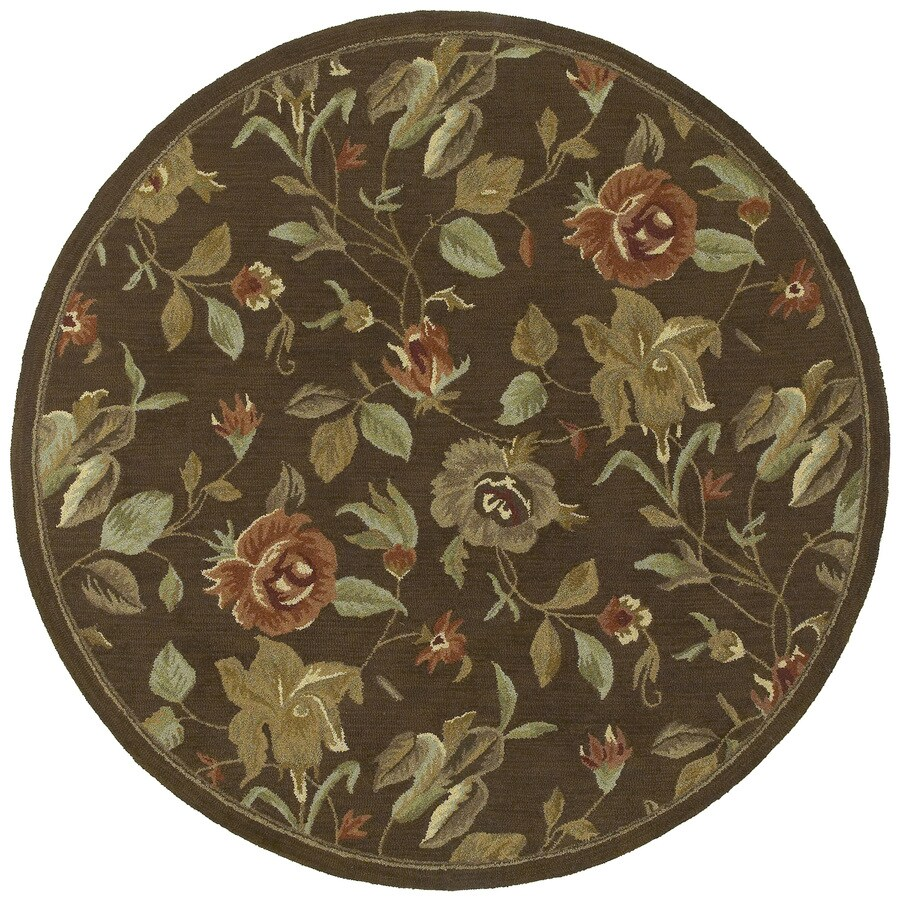 Kaleen Tara Round Brown Floral Tufted Wool Area Rug (Common: 6-ft x 6-ft; Actual: 5.75-ft x 5.75-ft)