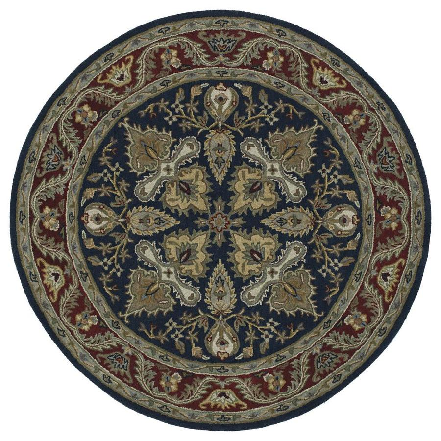 Kaleen Tara Rounds Navy Round Indoor Handcrafted Nature Area Rug (Common: 9 x 9; Actual: 9.75-ft W x 9.75-ft L x 4.88-ft dia)