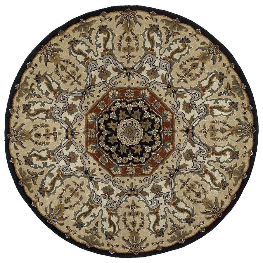 Kaleen Tara Round Black Round Indoor Handcrafted Nature Area Rug (Common: 10 X 10; Actual: 9.75-ft W x 9.75-ft L x 4.88-ft dia)