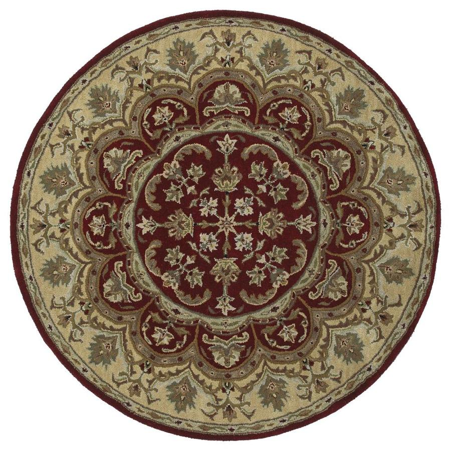 Kaleen Tara Rounds Burgundy Round Indoor Handcrafted Nature Area Rug (Common: 9 x 9; Actual: 9.75-ft W x 9.75-ft L x 4.88-ft dia)