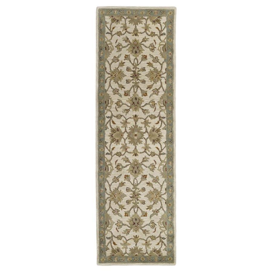 Kaleen Khazana Ivory Rectangular Indoor Handcrafted Oriental Runner (Common: 2 x 8; Actual: 2.25-ft W x 7.5-ft L)