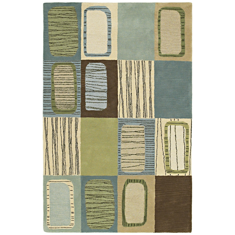 Kaleen Khazana Blue Rectangular Indoor Handcrafted Lodge Area Rug (Common: 8 x 12; Actual: 8-ft W x 11-ft L)