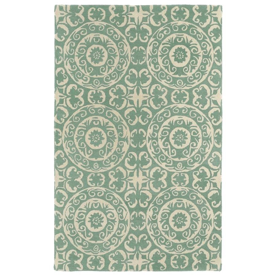 Kaleen Evolution Mint Round Indoor Handcrafted Area Rug (Common: 8 x 8; Actual: 7.75-ft W x 7.75-ft L x 3.88-ft dia)