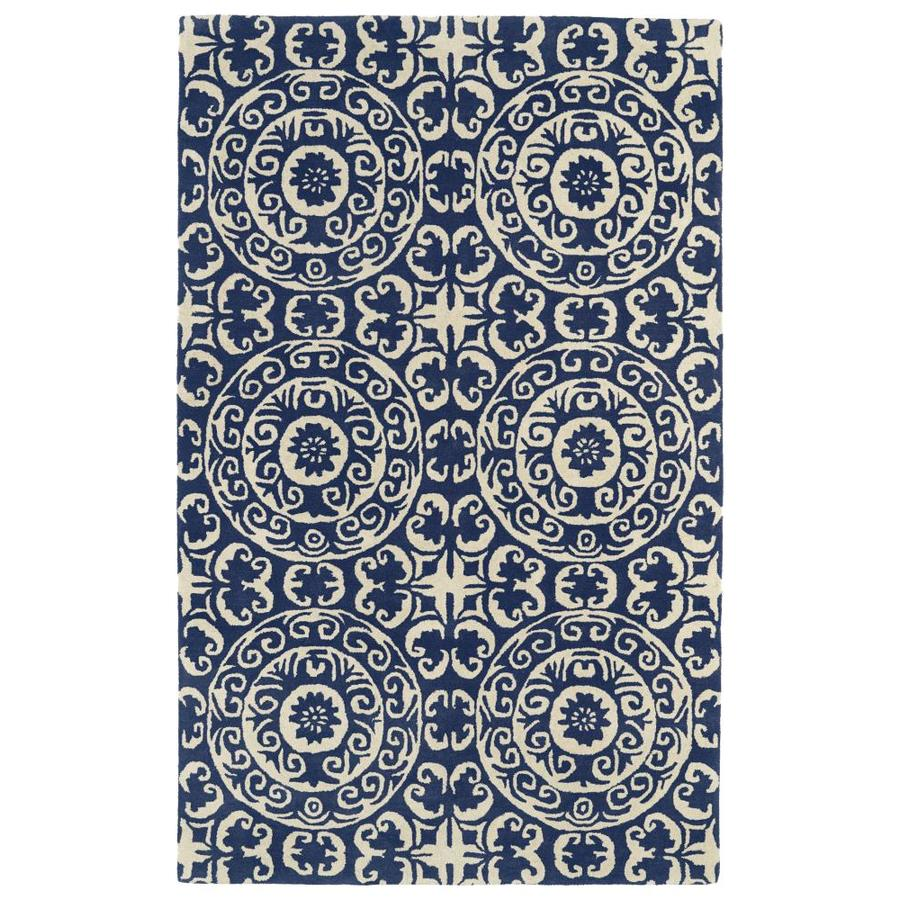 Kaleen Evolution Navy Round Indoor Handcrafted Area Rug (Common: 4 x 4; Actual: 3.75-ft W x 3.75-ft L x 1.88-ft dia)