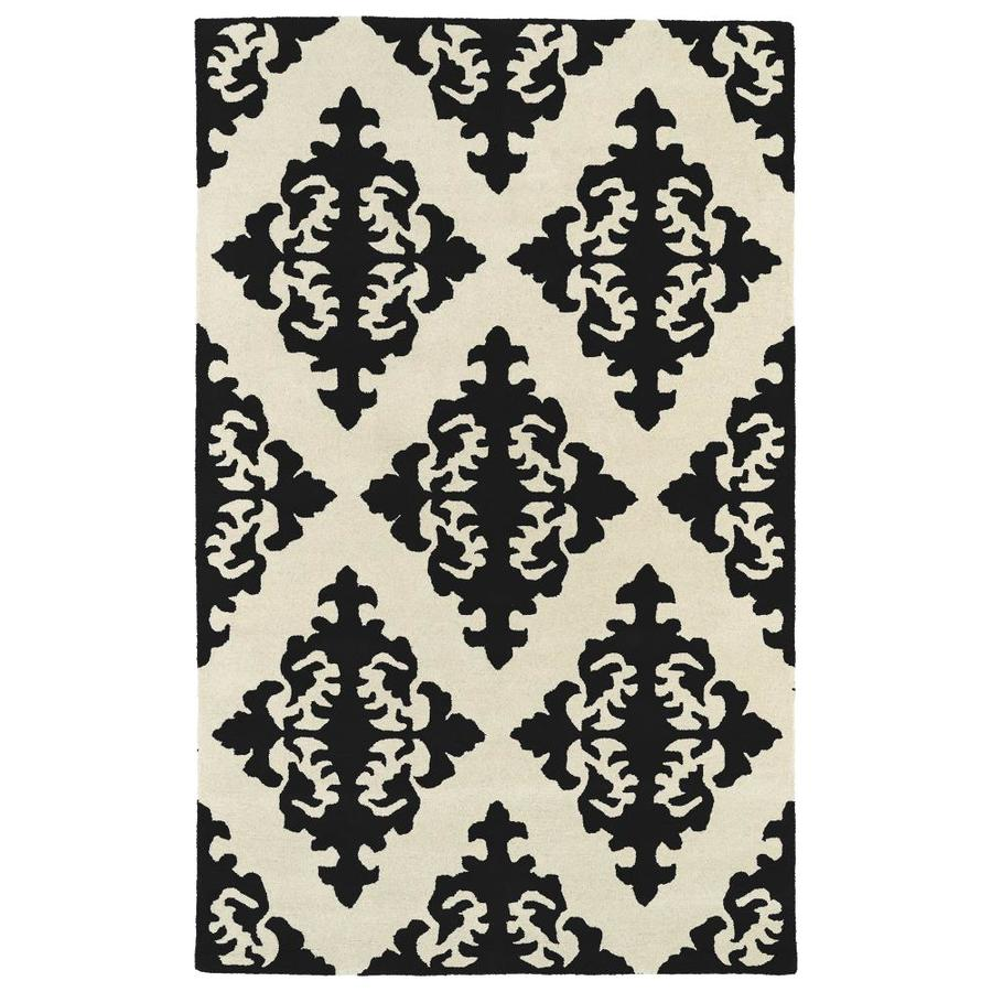 Kaleen Evolution Black Round Indoor Handcrafted Area Rug (Common: 4 x 4; Actual: 3.75-ft W x 3.75-ft L x 1.88-ft dia)