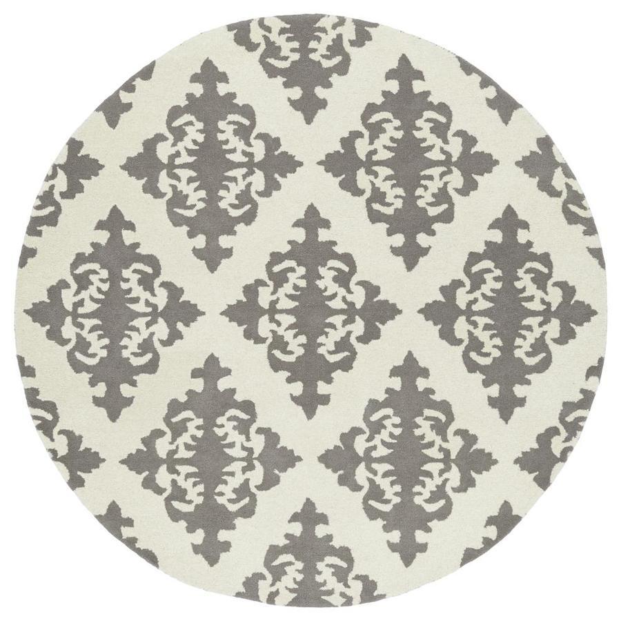 Kaleen Evolution Grey Round Indoor Handcrafted Area Rug (Common: 8 x 8; Actual: 7.75-ft W x 7.75-ft L x 3.88-ft dia)