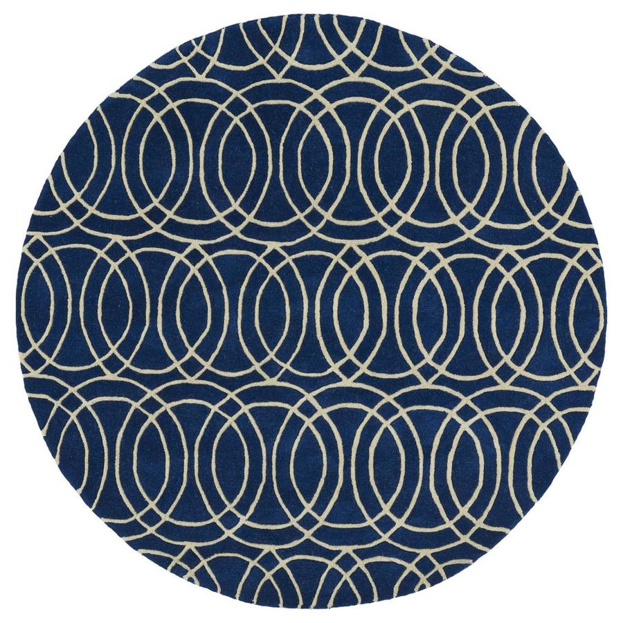 Kaleen Revolution Navy Round Indoor Handcrafted Novelty Area Rug (Common: 8 x 8; Actual: 7.75-ft W x 7.75-ft L x 3.88-ft dia)