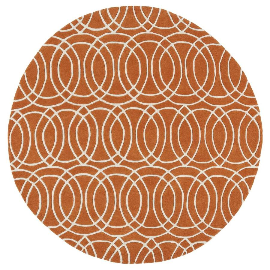 Kaleen Revolution Orange Round Indoor Handcrafted Novelty Area Rug (Common: 8 x 8; Actual: 7.75-ft W x 7.75-ft L x 3.88-ft dia)