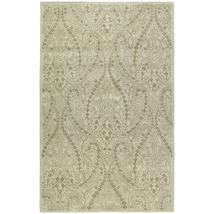 Kaleen Khazana Ivory Rectangular Indoor Handcrafted Distressed Area Rug (Common: 8X11; Actual: 8-ft W x 11-ft L)