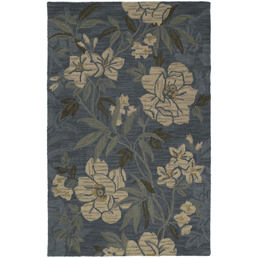 Kaleen Khazana Rectangular Blue Floral Tufted Wool Area Rug (Common: 5-ft x 8-ft; Actual: 5-ft x 7.75-ft)